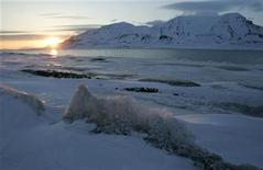 <p>The sun shines low in the sky just after midnight over a frozen coastline near the Norwegian Arctic town of Longyearbyen, April 26, 2007. REUTERS/Francois Lenoir</p>