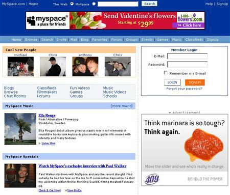 The MySpace homepage in an undated image courtesy of the company. MySpace users with mobile phones are about to find out if they can walk and watch TV at the same time. REUTERS/Handout