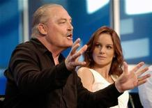 "<p>Stacy Keach (L), a cast member in the new Fox television series ""Prison Break,"" addresses reporters as fellow cast member Sarah Wayne Callies listens at the Fox summer press tour hosted by the Television Critics Association in Beverly Hills, California, July 29, 2005. REUTERS/Chris Pizzello</p>"