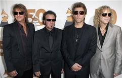 <p>Musicians (L-R) Richie Sambora, Tico Torres, Jon Bon Jovi, and David Gryan arrive at a benefit gala for The Recording Academy's New York Chapter in New York September 26, 2007. REUTERS/Lucas Jackson</p>