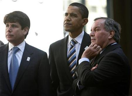(L-R) Illinois Governor Rod Blagojevich, U.S. Senator and Presidential hopeful Barack Obama (D-IL) and Chicago Mayor Richard M. Daley watch a video during a rally in Chicago in this April 16, 2007 file photo. REUTERS/John Gress/Files