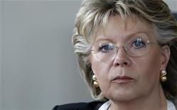 <p>Il commissario Ue per le Telecomunicazioni Viviane Reding. REUTERS/Vincent Kessler</p>