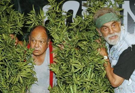Comedians Cheech & Chong, Cheech Marin (L) and Tommy Chong, pose with artificial marijuana plants for photographers after announcing their first comedy tour in 25 years during a news conference in Los Angeles July 30, 2008. REUTERS/Fred Prouser