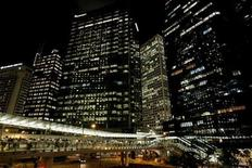 <p>Office buildings in Central, Hong Kong are lit up at night October 20, 2008. REUTERS/Woody Wu</p>