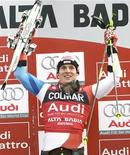 <p>Lo svizzero Daniel Albrecht festeggia dopo aver vinto lo slalom gigante maschile valido per la Coppa del Mondo in Alta Badia. REUTERS/Alessandro Bianchi</p>