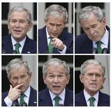 <p>Combinación de imágenes de archivo del presidente saliente de Estados Unidos, George W. Bush, en una conferencia de prensa en la Casa Blanca, en Washington, 29 abr 2008. Apenas dos semanas antes de que George W. Bush deje la Casa Blanca, Bollywood ya tiene preparado su regalo de despedida, un filme cargado de golpes bajos dirigidos al presidente. REUTERS/Jason Reed</p>