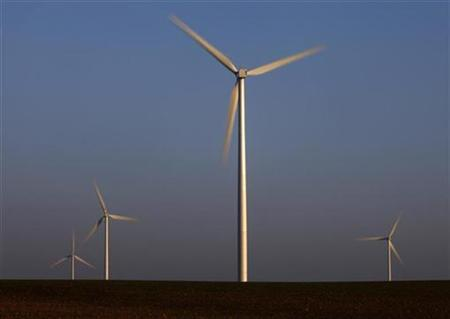 Power-generating windmill turbines are seen at a wind park in Vauvillers near Amiens, northern France December 29, 2008. REUTERS/Pascal Rossignol