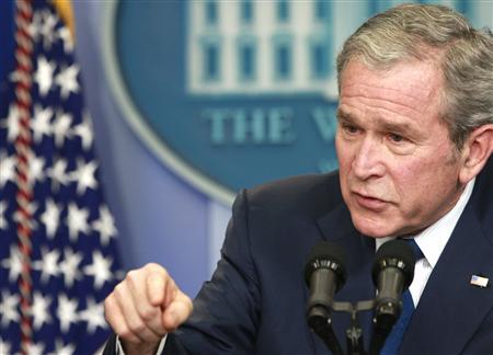 U.S. President George W. Bush makes a point during his final news conference in the Brady press briefing room at the White House in Washington, January 12, 2009. REUTERS/Jason Reed