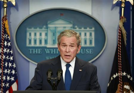 U.S. President George W. Bush delivers his final news conference in the Brady press briefing room at the White House in Washington January 12, 2009. REUTERS/Jason Reed