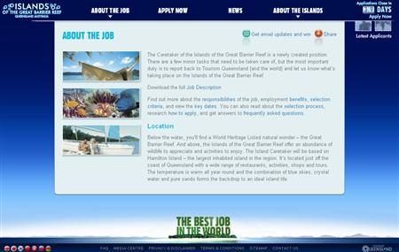 Islandreefjob.com is show in this screengrab taken January 14, 2009. REUTERS/Islandreefjob.com