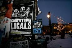 <p>Posters for films entered in the Sundance Film festival, as well as counter-culture festivals Slamdance and Tromadance, fill kiosks along Main Street in Park City Utah at the Sundance Film Festival January 20, 2006. REUTERS/Sam Mircovich</p>