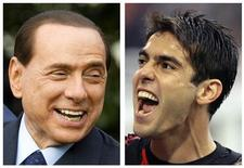 """<p>Il giorno dopo che Kakà ha annunciato di restare al Milan, il presidente del Consiglio e proprietario della squadra, Silvio Berlusconi, ha detto di aver lasciato il giocatore brasiliano """"libero di scegliere"""" se accettare o meno l'offerta record del Manchester City. REUTERS/Larry Downing (L)/Alessandro Garofalo (ITALY)</p>"""