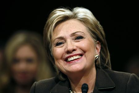 Senator Hillary Clinton smiles as she testifies before the Senate Foreign Relations Committee during her confirmation hearing on Capitol Hill in Washington to become the next U.S. Secretary of State, in this January 13, 2009 file photo. REUTERS/Kevin Lamarque/Files