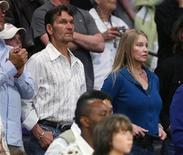 <p>Actor Patrick Swayze and his wife Lisa Niemi watch from the crowd as the Los Angeles Lakers play the San Antonio Spurs during Game 2 of their NBA Western Conference final basketball playoff series in Los Angeles May 23, 2008. REUTERS/Danny Moloshok</p>