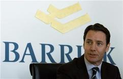 <p>Aaron Regent, president and chief executive of Barrick Gold Corp listens during a news conference in Toronto, January 16, 2009. REUTERS/Adrien Veczan</p>
