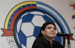 <p>Técnico da seleção argentina, Diego Maradona, durante coletiva de imprensa em Caracas na terá-feira REUTERS/Carlos Garcia Rawlins (VENEZUELA)</p>