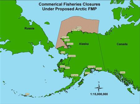 This image, released February 5, 2009, shows proposed commercial Arctic fisheries closures. In a pre-emptive strike against the expected effects of climate change, a U.S. advisory panel on Thursday urged a ban on commercial fishing across a wide swath of the Arctic Sea off the Alaskan coast. REUTERS/Ocean Conservancy/Handout