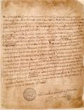 <p>A love letter written by Henry VIII to Anne Boleyn is seen in this handout photograph, received in London on February 13, 2009. REUTERS/The British Library/Handout</p>