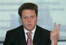 <p>Sergei Polonsky, co-owner of Russian developer Mirax, during a news conference in Moscow, February 11, 2009. REUTERS/Alexander Natruskin</p>