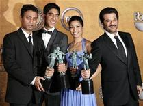 "<p>(L-R) Actors Irrfan Khan, Dev Patel, Freida Pinto and Anil Kapoor hold their awards after winning for Outstanding Performance by a Cast in a Motion Picture ""Slumdog Millionaire"" at the 15th annual Screen Actors Guild Awards in Los Angeles, January 25, 2009. REUTERS/Danny Moloshok</p>"