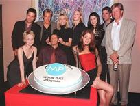 "<p>Cast members of the television series ""Melrose Place"" celebrate the program's 200th episode during a party, September 9 in Beverly Hills. (L-R) front row, Josie Bissett, Thomas Calabro, Jamie Luner. Back row, Rob Estes, Steve Wilder, Heather Locklear, Kelly Rutherford, Rena Sofer, John Haymes Newton and Jack Wagner. REUTERS/Fred Prouser</p>"