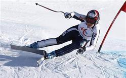 <p>Nadia Fanchini durante una discesa di allenamento. REUTERS/Laszlo Balogh</p>