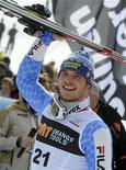 <p>L'azzurro Giuliano Razzoli dopo la vittoria nello slalom di Coppa del Mondo a Kranjska Gora, in Slovenia. REUTERS/Srdjan Zivulovic</p>