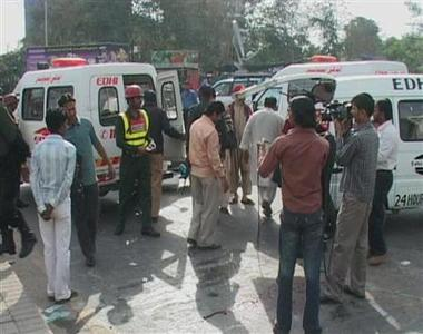 A video grab shows ambulances on the scene after an attack by gunmen in Lahore March 3, 2009. REUTERS/Reuters TV