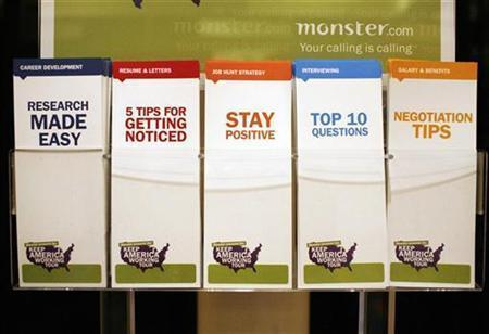 A display of employment tips pamphlets waits for job seekers at a job fair sponsored by employment website Monster.com as part of their ''Keep America Working'' tour at a hotel in New York's Times Square, March 5, 2009. REUTERS/Mike Segar
