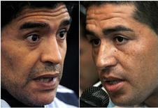 <p>O técnico da seleção argentina de futebol, Diego Maradona, disse nesta quarta-feira que se o meio-campista Juan Román Riquelme disser ter se equivocado ao renunciar à equipe ficaria feliz em voltar a convocá-lo. REUTERS/Arquivo (ARGENTINA)</p>
