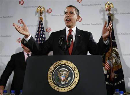 U.S. President Barack Obama speaks at a meeting of business leaders at a hotel in Washington, March 12, 2009. Obama said on Thursday he was extending sanctions against Iran as it continued to pose an ''extraordinary threat'' to the national security, foreign policy and economy of the United States. REUTERS/Jason Reed