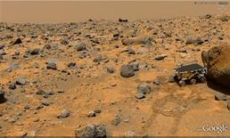 <p>Un'immagine della superficie di Marte da Google Earth. REUTERS/Ho</p>