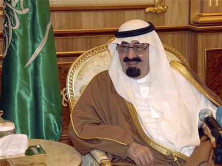 Saudi King Abdullah in his palace in Riyadh, February 14, 2009. REUTERS/Saudi Press Agency/Handout