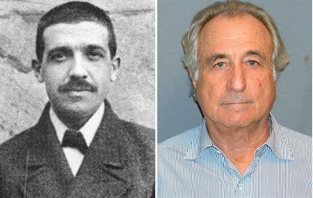 The 1920 mugshot of Charles Ponzi and the 2009 mugshot of Bernard Madoff. REUTERS/Handout/Composite