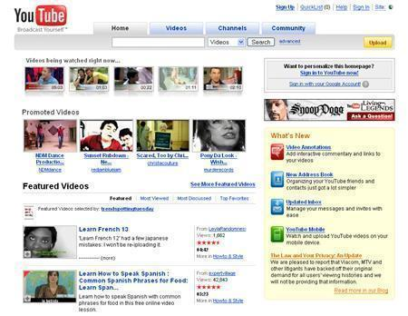A screenshot of YouTube.com, taken on July 15, 2008. REUTERS/www.youtube.com
