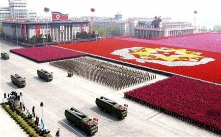 A North Korean missile unit takes part in a military parade to celebrate the 75th anniversary of the founding of the Korean People's Army in Pyongyang, April 25, 2007. REUTERS/Korea News Service