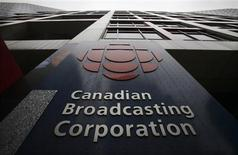 <p>A sign is seen at the Canadian Broadcasting Corporation building in Toronto, March 25, 2009. REUTERS/Mark Blinch</p>