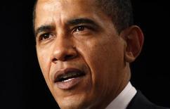 <p>Барак Обама рассказывает о новой стратегии в Афганистане и Пакистане, 27 марта 2009 года. Президент США Барак Обама призовет европейских союзников поддержать свою новую стратегию в Афганистане, заявив на этой неделе, что возвращение государства в хаос угрожает безопасности стран НАТО. REUTERS/Kevin Lamarque</p>