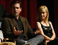 "<p>Cast member Steve Carell speaks as co-star Angela Kinsey watches during an ""Inside The Office"" panel discussion at the Leonard H. Goldenson theatre in North Hollywood, California March 18, 2009. REUTERS/Mario Anzuoni</p>"