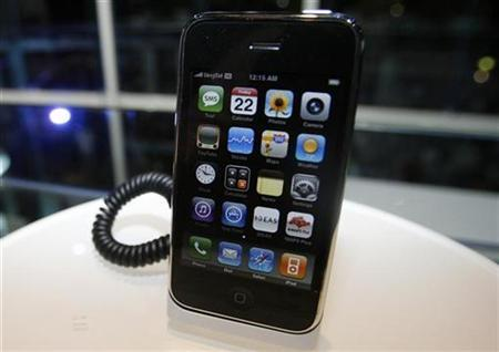 An Apple iPhone sits on a display stand during its launch at a Singtel store in Singapore August 22, 2008. REUTERS/Vivek Prakash