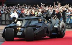 <p>The 'Batmobile' arrives for the European Premiere of The Dark Knight in Leicester Square in central London July 21 2008.REUTERS/Toby Melville</p>
