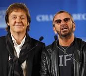 <p>Former Beatles Paul McCartney (L) and Ringo Starr speak at a news conference where David Lynch's foundation announced an initiative to teach one million at-risk youth to meditate, in New York, April 3, 2009. REUTERS/Chip East</p>