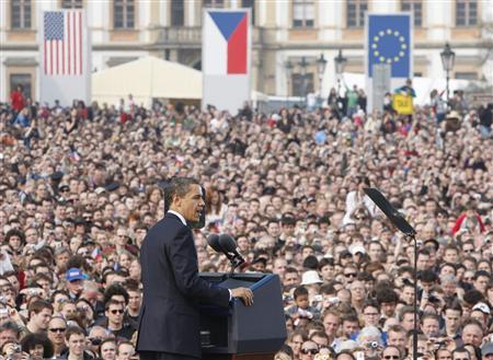 U.S. President Barack Obama is pictured during a speech in Hradcany Square, Prague April 5, 2009. REUTERS/Jason Reed