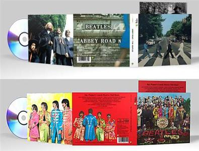 The digitally remastered and repackaged ''Abbey Road'' and ''Sgt. Pepper's Lonely Hearts Club Band'' albums in an image courtesy of Beatles company Apple Corps Ltd. The original Beatles catalog has been digitally remastered for the first time and will go on sale in CD format on September 9. REUTERS/Handout