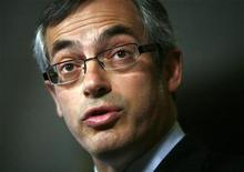 <p>Minister of Industry Tony Clement speaks during a news conference in the foyer of the House of Commons on Parliament Hill in Ottawa April 7, 2009. REUTERS/Blair Gable</p>