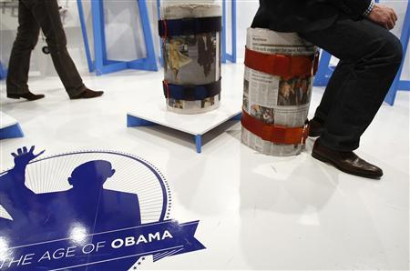 Creations from ''Objects for the Age of Obama'' are displayed at the Satellite designer Furniture exhibition in Milan April 23, 2009. REUTERS/Alessandro Garofalo