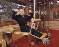 <p>Jack LaLanne working out at ranch in Moro Bay, CA, 2004. REUTERS/BeFit Enterprises/Handout</p>