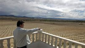 <p>Winemaker Jose Maria Delicado points to the front of his wineyard in Ontur, southeastern Spain April 15, 2009. REUTERS/Sergio Perez</p>