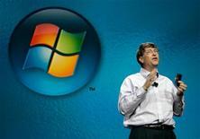 <p>Основатель компании Microsoft Билл Гейтс выступает с презентацией на выставке в Лас-Вегасе 4 января 2006 года. Microsoft Corp готова представить новую версию своей поисковой системы в начале следующей недели, сообщает Wall Street Journal со ссылкой на осведомленные источники. REUTERS/Rick Wilking</p>