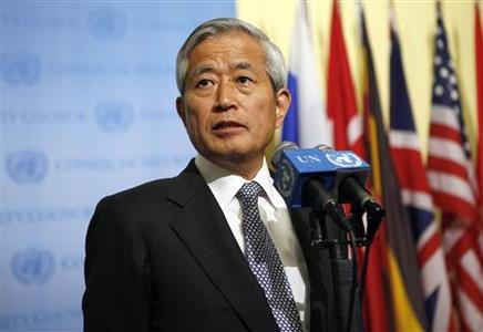 Japanese Ambassador to the UN Yukio Takasu speaks about North Korea's nuclear test after a Security Council meeting, at United Nations headquarters, in New York, May 25, 2009. REUTERS/Chip East